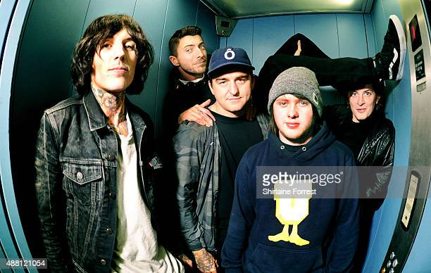 Oliver Sykes Lee Malia Matt Kean Matt Nicholls and Jordan Fish of Bring Me The Horizon pose in a lift backstage after meeting fans and signing copies...