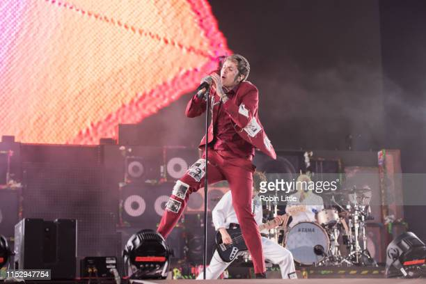 Oliver Sykes Matt Kean and Matt Nicholls of Bring Me the Horizon perform during the All Points East Festival at Victoria Park on May 31 2019 in...