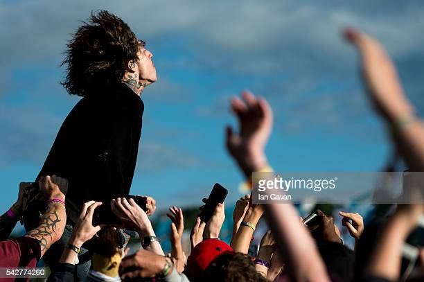 Oliver Sykes of 'Bring Me The Horizon' performs on the Other Stage during the Glastonbury Festival at Worthy Farm Pilton on June 24 2016 in...