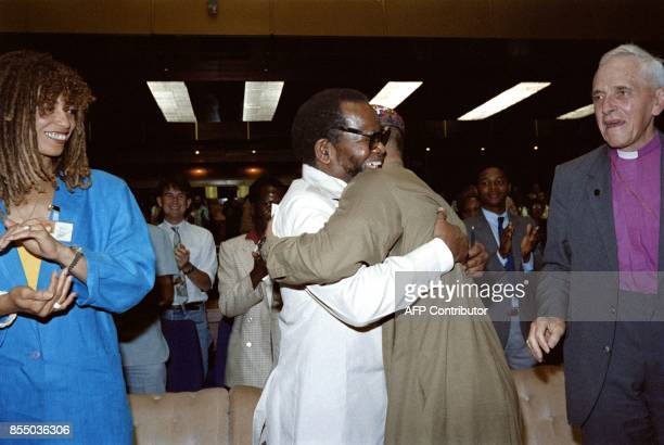 Oliver Tambo President of ANC congratulates muslim leader Imam Farid Esack on September 27 1987 during the Children Under Apartheid conference in...