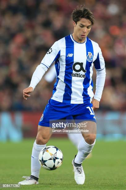 Oliver Torres of Porto in action during the UEFA Champions League Round of 16 Second Leg match between Liverpool and FC Porto at Anfield on March 6...