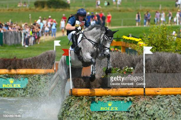Oliver Townend of England riding Ballaghmor Class during the obstacle in the water of the Cross Country test DHLPrize in the park of the CHIO of...