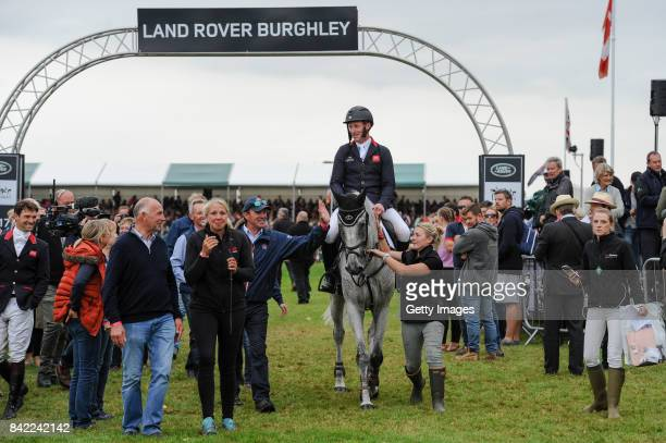 Oliver Townend of Great Britain riding Ballaghmor Class after he wins The Land Rover Burghley Horse Trials 2017 on September 2 2017 in Stamford...