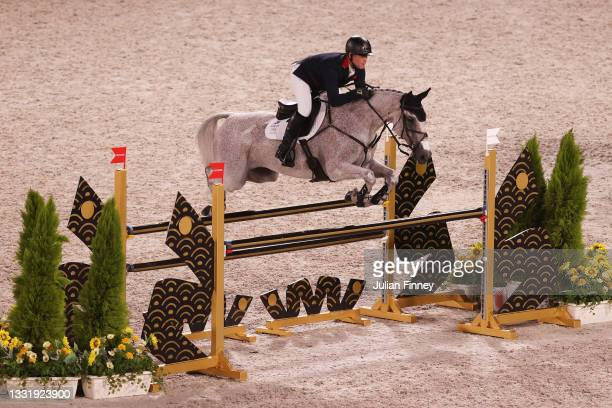 Oliver Townend of Team Great Britain riding Ballaghmor Class competes during the Eventing Jumping Team Final and Individual Qualifier on day ten of...