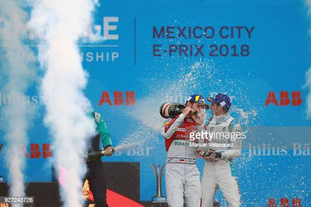 Oliver Turvey of UK Daniel Abt of Germany and Audi Sport Abt Schaeffler and Sebastien Buemi of Switzerland and Renault celebrate after the Mexico...