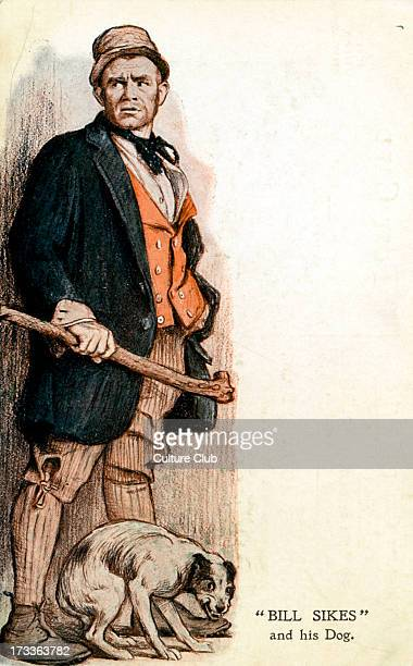Oliver Twist by Charles Dickens.Bill Sikes and hig dog English novelist 7 February 1812 – 9 June 1870.
