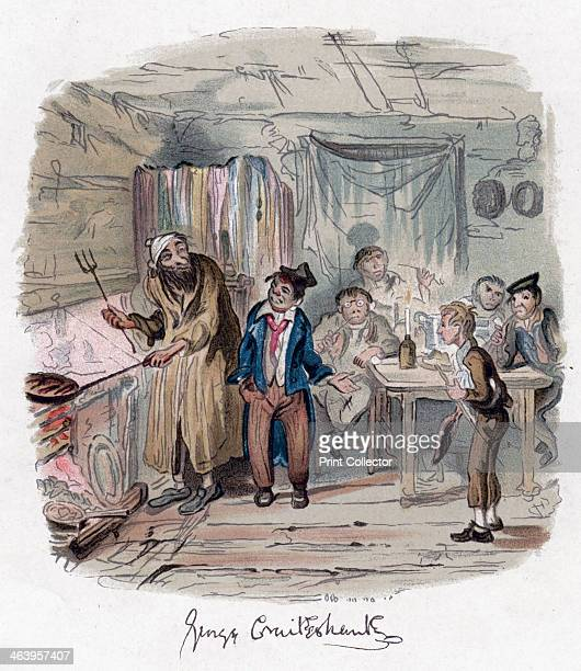 'Oliver Twist' c1838 Oliver introduced to the respectable old gentleman Fagin and the Artful Dodger welcome Oliver to their den of pickpockets...