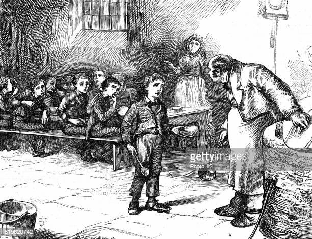 Oliver Twist causing a sensation in the children's ward of the workhouse by asking for a second helping of porridge In the background his starving...