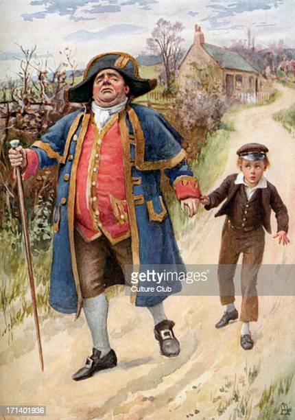 Oliver Twist - illustration of a scene from the book by English novelist Charles Dickens. Oliver is lead away by Bumble the beadle. Written in 1838....