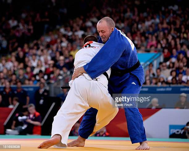 Oliver Upmann of Germany defeated Joe Ingram of Great Britain by an ippon with this leg throw during the Day 3 u100kgs repercharge at the Paralympics...