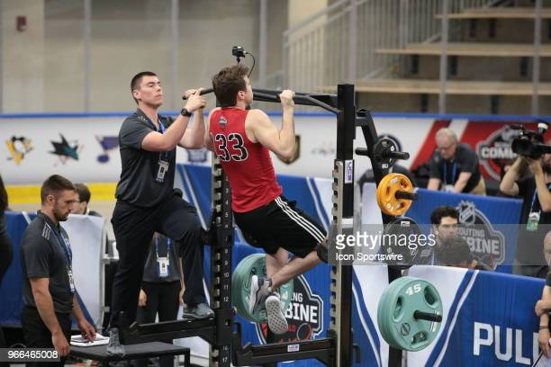 Oliver Wahlstrom completes the pull ups test during the NHL Scouting Combine on June 2 2018 at HarborCenter in Buffalo New York