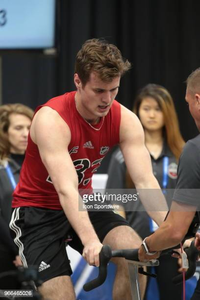 Oliver Wahlstrom completes the Wingate cycle test during the NHL Scouting Combine on June 2 2018 at HarborCenter in Buffalo New York