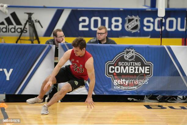 Oliver Wahlstrom of completes the#2 completes the pro agility test during the NHL Scouting Combine on June 2 2018 at HarborCenter in Buffalo New York