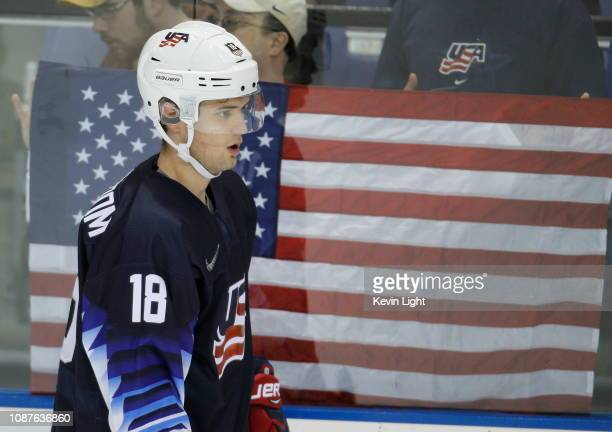 Oliver Wahlstrom of United States skates against Slovakia during the IIHF World Junior Championships at the SaveonFoods Memorial Centre on December...