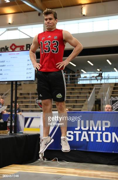 Oliver Wahlstrom performs at the jump station during the NHL Scouting Combine on June 2 2018 at HarborCenter in Buffalo New York