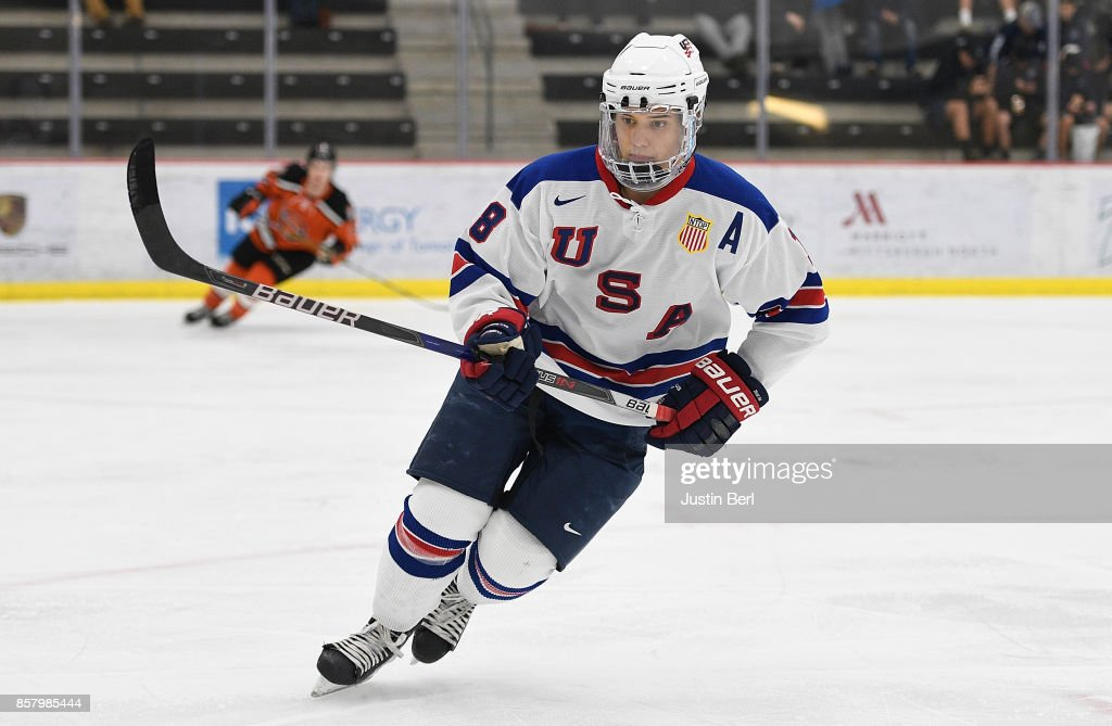 Oliver Wahlstrom #18 skates in the third period during the game against the Omaha Lancers on Day 3 of the USHL Fall Classic at UPMC Lemieux Sports Complex on September 30, 2017 in Cranberry Township, Pennsylvania.