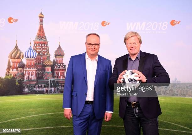 Oliver Welke and Oliver Kahn pose for a picture during the ARD and ZDF FIFA World Cup presenter team presentation on April 23 2018 in Hamburg Germany