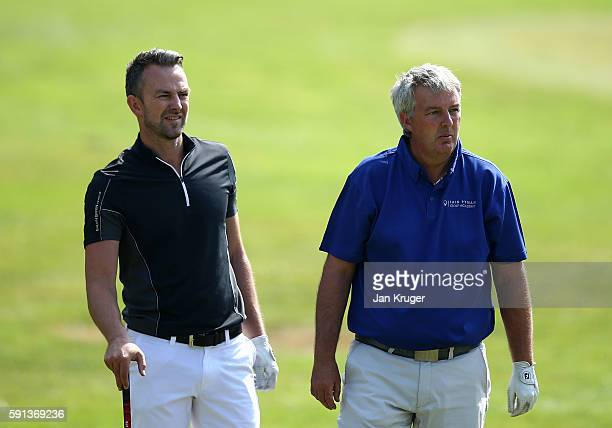 Oliver Whiteley of Bramall Park GC and partner Iain Pyman of Waterfront Golf Limited during day one of the PGA Fourball Championship at Carden Park...