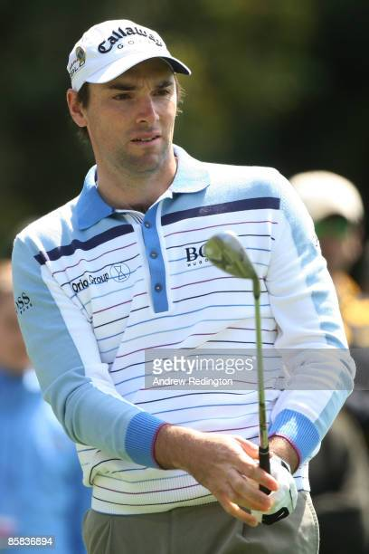 Oliver Wilson of England hits a pitch shot during a practice round prior to the 2009 Masters Tournament at Augusta National Golf Club on April 7 2009...