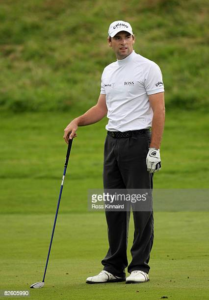 Oliver Wilson of England on the par five 18th hole during the third round of The Johnnie Walker Championship at Gleneagles on August 30 2008 at the...