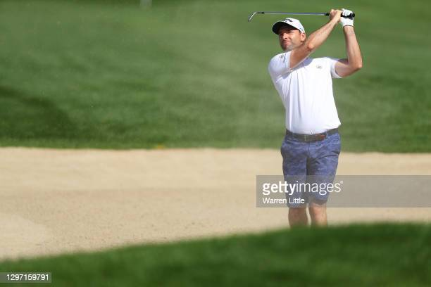 Oliver Wilson of England plays a shot during practice ahead of the Abu Dhabi HSBC Championship at Abu Dhabi Golf Club on January 19, 2021 in Abu...
