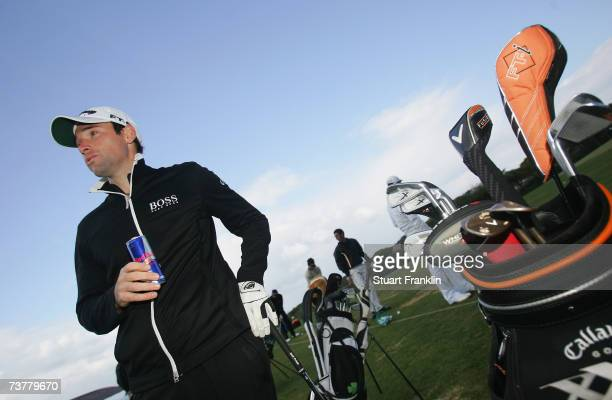 Oliver Wilson of England practices before during the Pro Am of The Estoril Open de Portugal at The Quinta da Marinha Golf Course on March 28 2007 in...