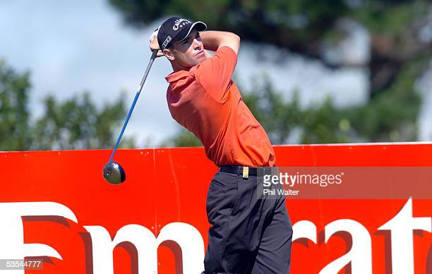Oliver Wilson tees off on the 14th hole during the second day of the Holden New Zealand Golf Open, played a the Gulf Harbour Country Club north of...