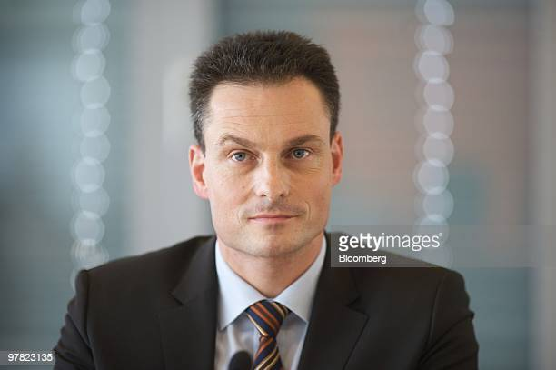 Oliver Windholz, chairman of Ratiopharm Group, listens during a news conference in Cologne, Germany, on Thursday, March 18, 2010. Teva Pharmaceutical...