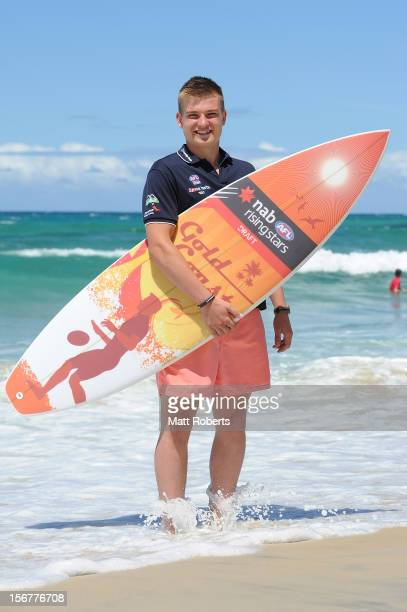 Oliver Wines poses during a media call prior to the AFL draft at Burleigh Beach Surf Life Saving Club on November 21 2012 on the Gold Coast Australia