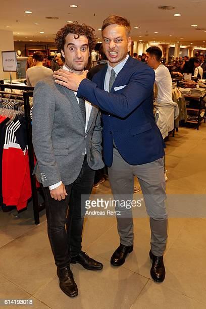 Oliver Wnuk and Tom Wlaschiha, dressed by ANSONS'S, attend ANSON'S Maennerabend on October 12, 2016 in Hamburg, Germany.