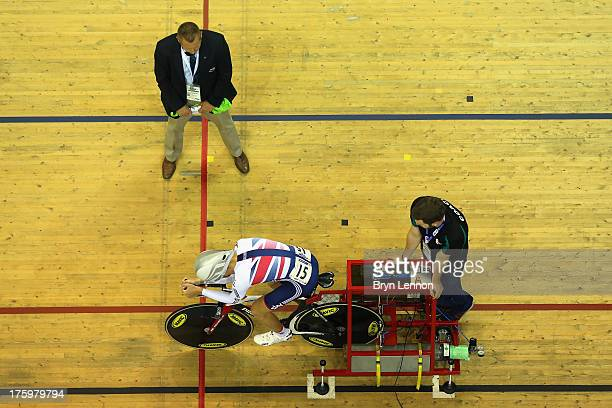 Oliver Wood of Great Britain prepares to start the Men's Omnium 1km Time Trial during day four of the 2013 UCI Juniors Track World Championships at...