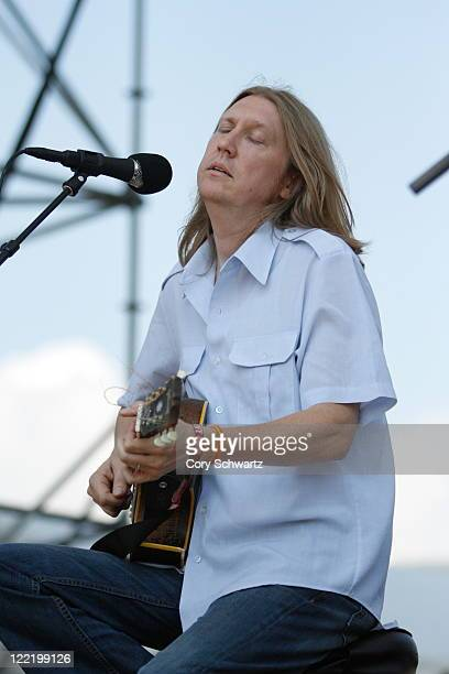 Oliver Wood of The Wood Brothers performs during the Dave Matthews Band Caravan on Governors Island on August 26 2011 in New York City