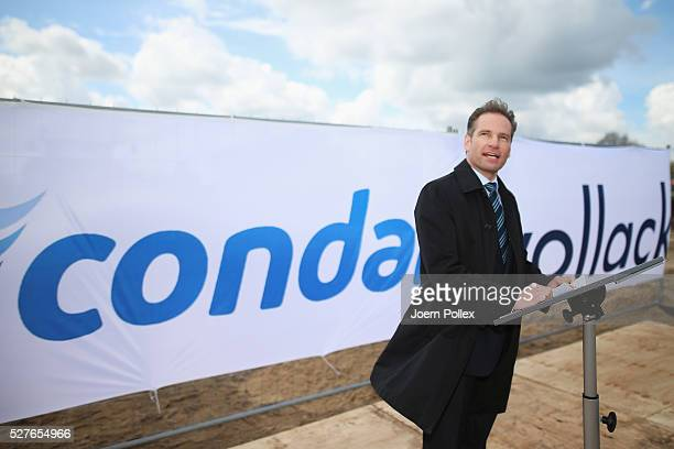 Oliver Zimmermann CEO Condair speaks to the attendant crowd during the foundation stone laying ceremony for the new Condair EMEA Logistic and...