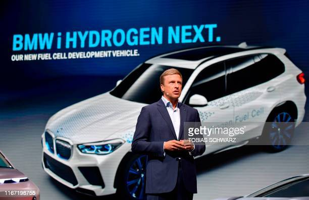 Oliver Zipse CEO of German car maker BMW addresses a press conference on September 10 2019 on the fair grounds in Frankfurt am Main western Germany...