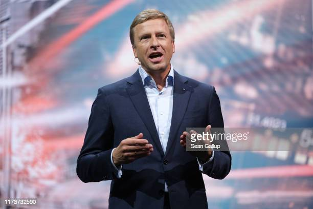 Oliver Zipse head of BMW speaks at the BMW presentation during the press days at the 2019 IAA Frankfurt Auto Show on September 10 2019 in Frankfurt...