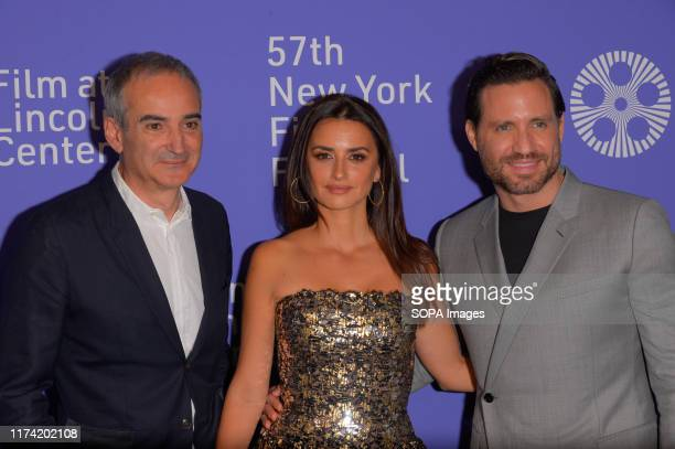 Oliverier Assayas Penelope Cruz and Edgar Ramirez attend the 57th New York Film Festival Wasp Network arrivals at Alice Tully Hall Lincoln Center in...