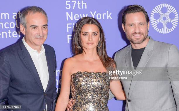 Oliverier Assayas Penelope Cruz and Edgar Ramirez attend Wasp Network premiere during 57th New York Film Festival at Lincoln Center Alice Tully Hall