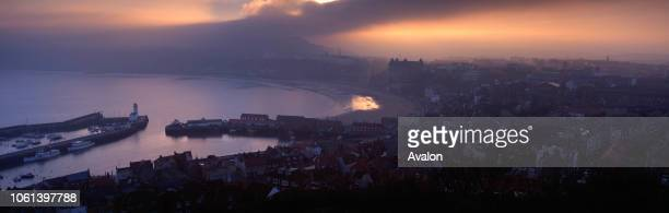 Oliver's Mount Sea Mist Scarborough North Yorkshire UK from the Castle Mount evening