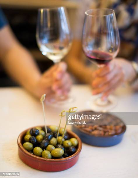 Olives, almonds and wine