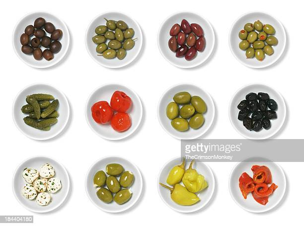 olives and antipasto - antipasto stock pictures, royalty-free photos & images