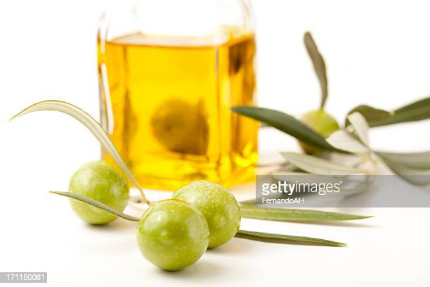 olives and olive oil in bottle - luques olive stock pictures, royalty-free photos & images