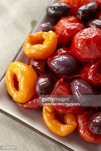 Olives and peppers, close up