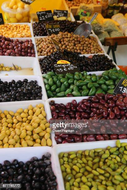 olives for sale- sunday market, bastille - luques olive stock pictures, royalty-free photos & images