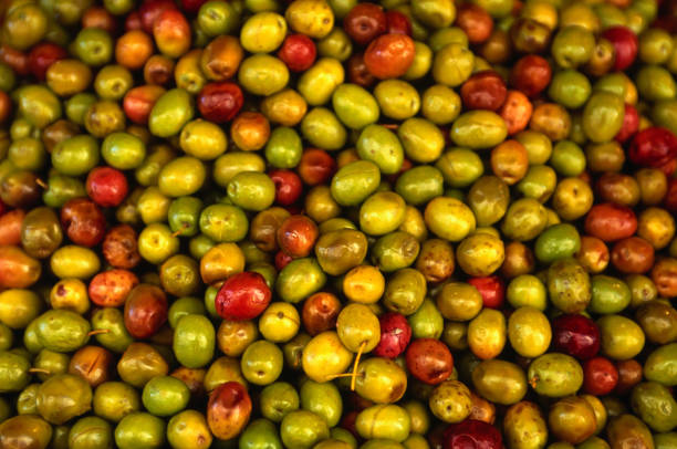 Olives from a stall in the Central Market, Athens., Athens, Attica, Greece, Europe