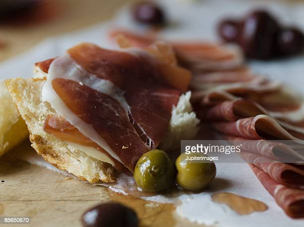 Olives with prosciutto