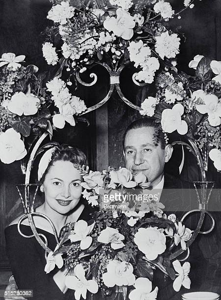 Olivia and Husband on Eve of Their Wedding Paris France On the eve of their wedding American actress Olivia de Havilland and her husband to be French...