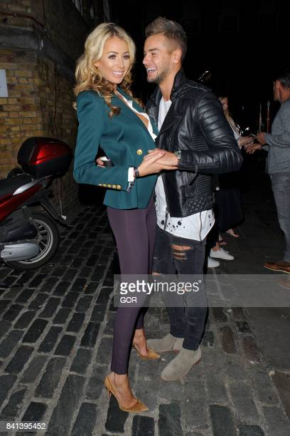 Olivia Attwood and Chris Hughes leaving a gig in Brick Lane on August 31 2017 in London England
