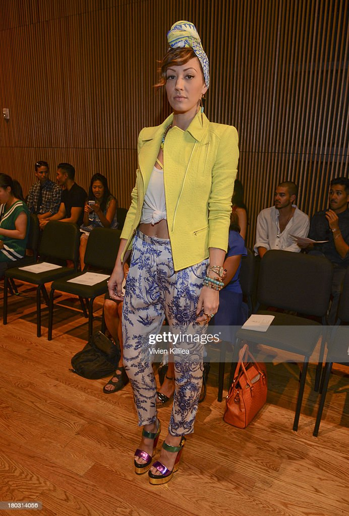 Olivia Barr is seen on the front row at the Douglas Hannant fashion show during Mercedes-Benz Fashion Week Spring 2014 on September 11, 2013 in New York City.