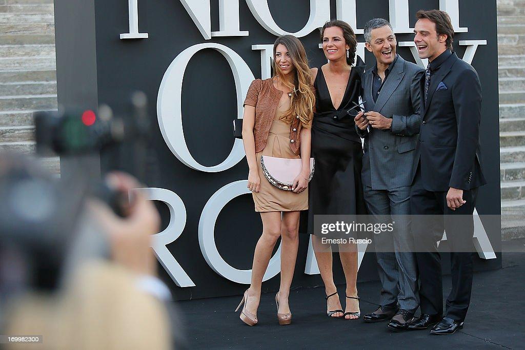 Olivia Biondo, Roberta Armani, Rosario Fiorello and Alessandro Preziosi attend 'One Night Only' hosted by Giorgio Armani at Museo Della Civilta Del Lavoro in Roma on June 5, 2013 in Rome, Italy.