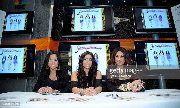 Olivia Blois Gigi Liscio and Tracy Dimarco attend the Jerseylicious cast meet greet at the NBC Experience Store on March 7 2012 in New York City
